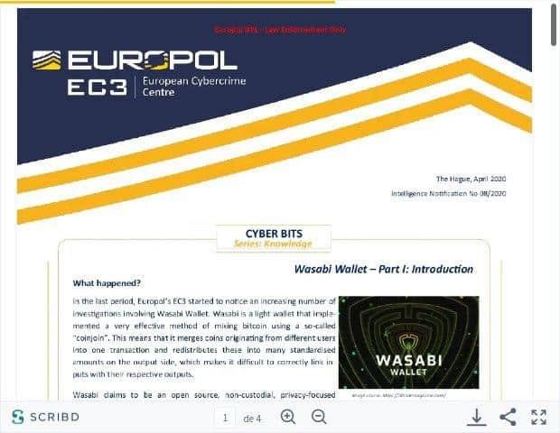 Informe de la EC3 de la Europol sobre Wasabi Wallet