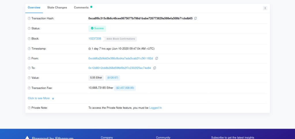 Datos de la transacción más cara de Ethereum