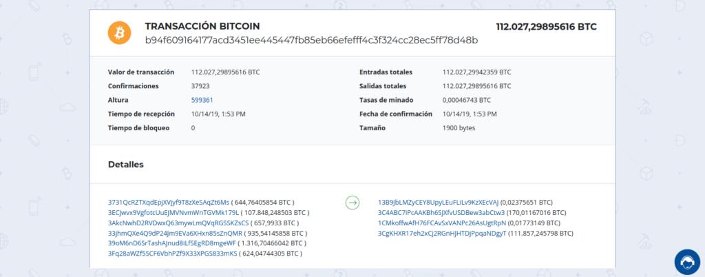 Otras transacciones relacionadas con la ballena de Bitcoin