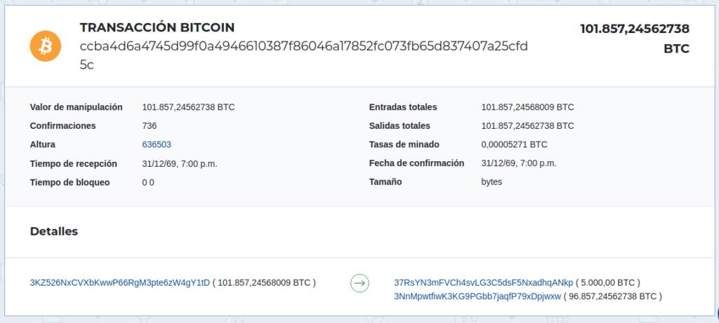 Transacción de 101.857 BTC realizada por la ballena